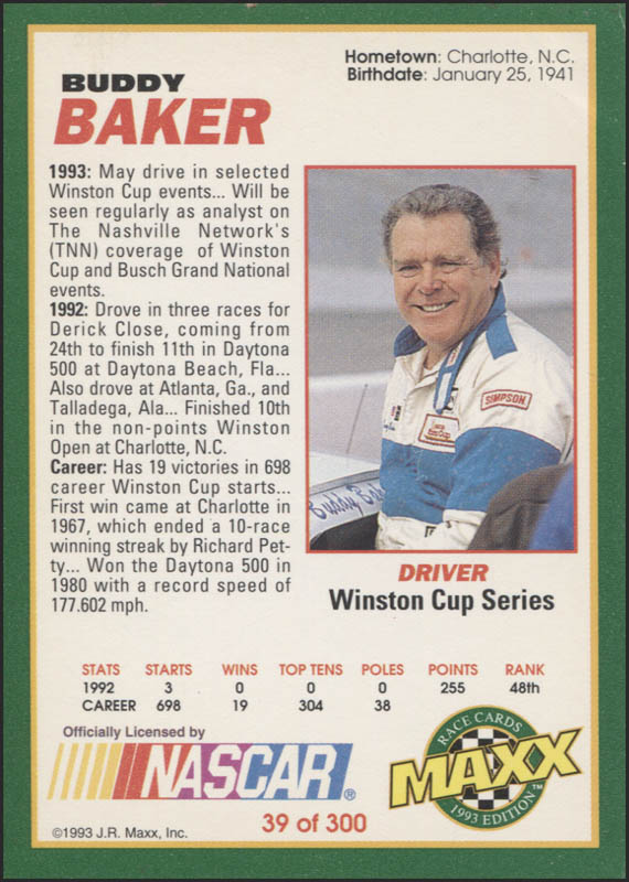 Image 3 for Buddy Baker - Trading/Sports Card Signed - HFSID 345491
