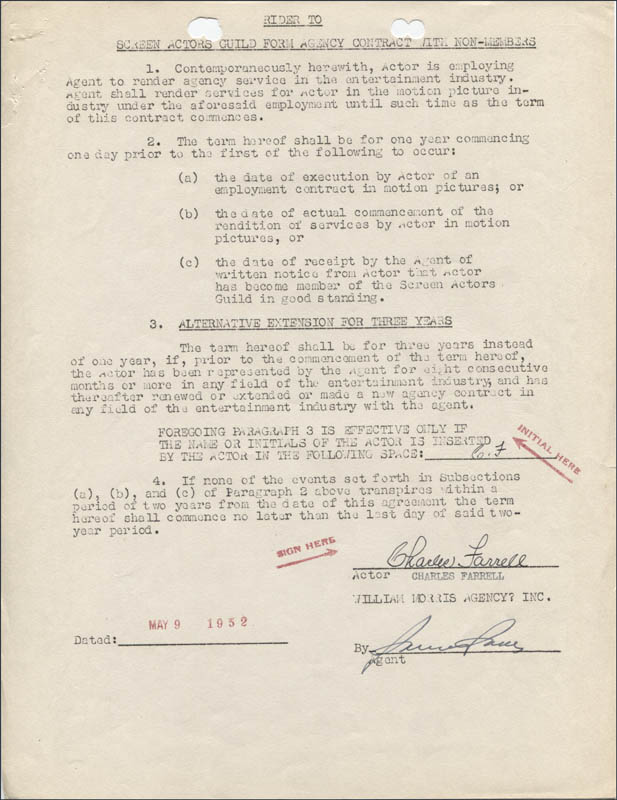 Image 1 for Charles Farrell - Contract Double Signed 05/09/1952 - HFSID 345558