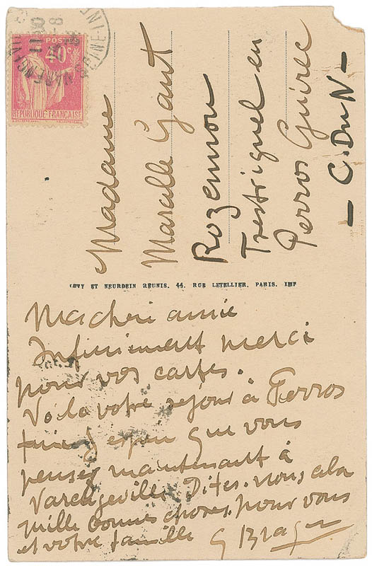 Image 1 for Georges Braque - Autograph Letter Signed Circa 1934 - HFSID 345625