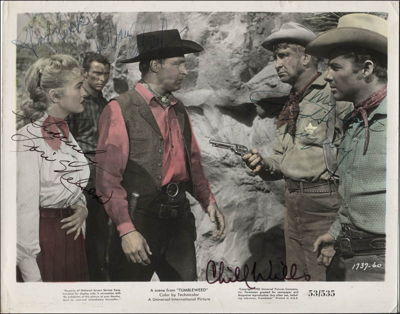 Image 1 for Tumbleweed Movie Cast - Printed Photograph Signed In Ink co-signed by: Audie Murphy, Chill Wills, Lee Van Cleef, Lori Nelson - HFSID 345642