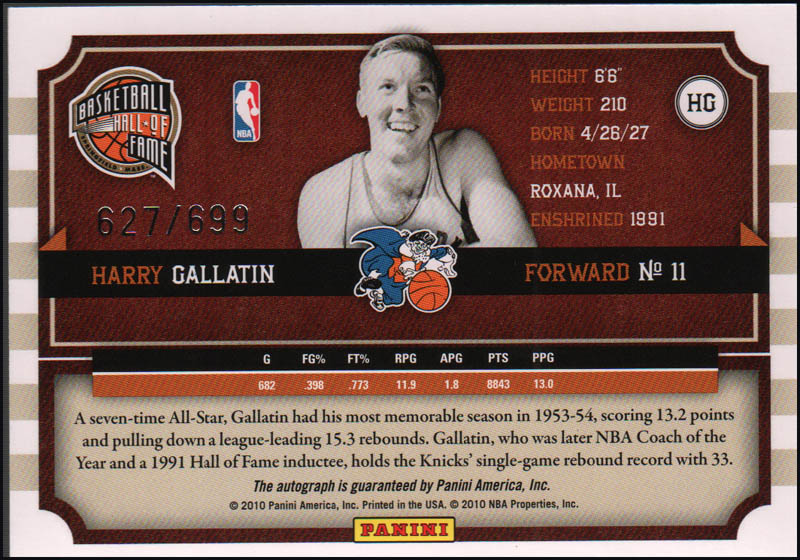 Image 3 for Harry Gallatin - Trading/Sports Card Signed - HFSID 345749