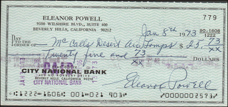 Image 1 for Eleanor Powell - Autographed Signed Check 01/08/1973 - HFSID 345807