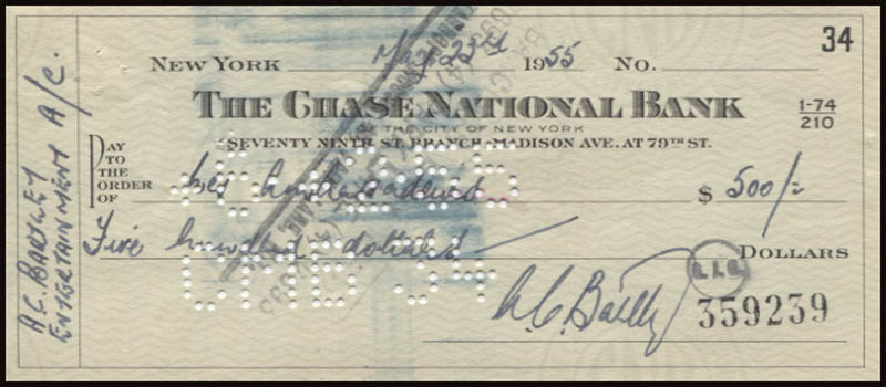 Image 1 for Anthony Charles Bartley - Autographed Signed Check 05/23/1955 - HFSID 345840