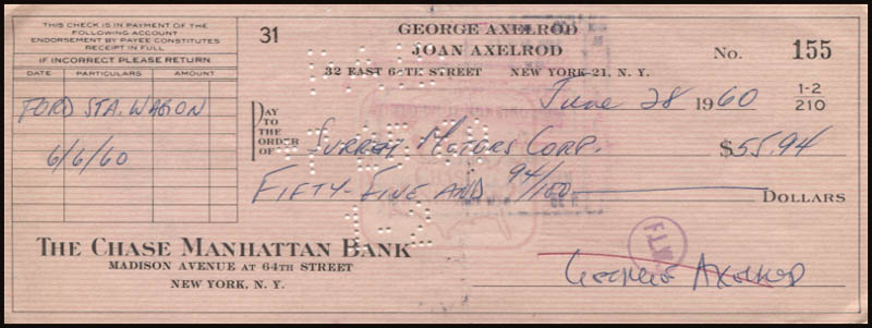 Image 1 for George Axelrod - Autographed Signed Check 06/28/1960 - HFSID 345844
