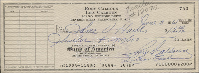 Image 1 for Rory Calhoun - Autographed Signed Check 06/03/1961 co-signed by: Lita Baron Calhoun - HFSID 345888