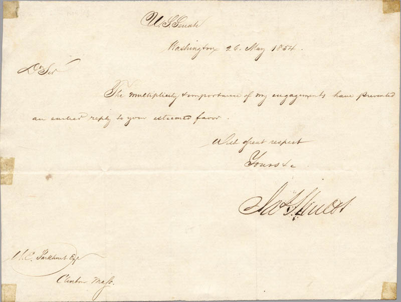Image 1 for Brigadier General James Shields - Manuscript Letter Signed 05/26/1854 - HFSID 3459