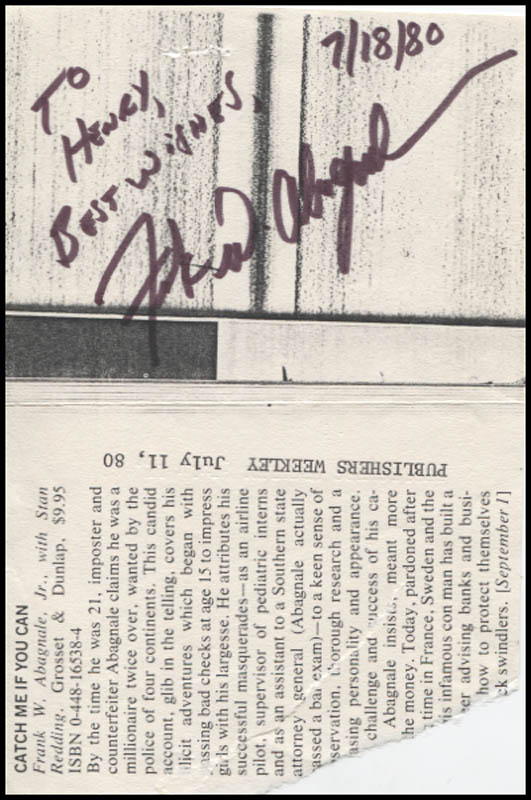 Image 1 for Frank W. Abagnale Jr. - Autograph Note Signed 07/18/1980 - HFSID 345978