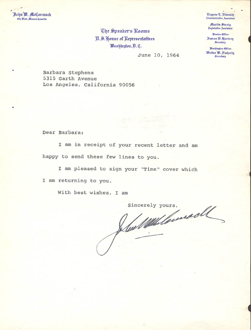 Image 1 for John W. Mccormack - Typed Letter Signed 06/10/1964 - HFSID 34602