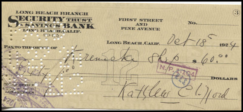 Image 1 for Kathleen Clifford - Autographed Signed Check 12/18/1924 - HFSID 346034