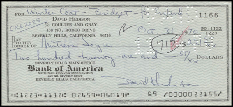 Image 1 for David Hedison - Autographed Signed Check 10/31/1970 - HFSID 346051