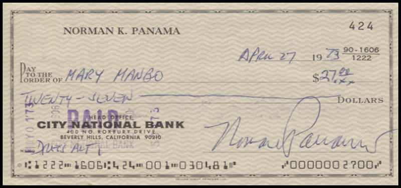 Image 1 for Norman Panama - Autographed Signed Check 04/27/1973 - HFSID 346068