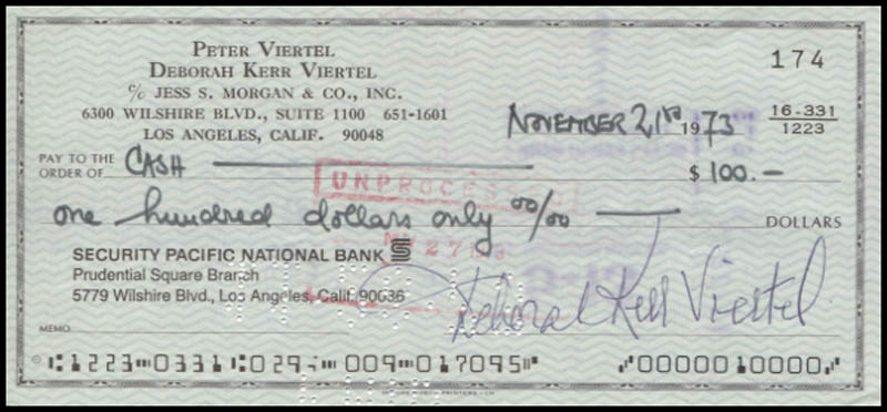 Image 1 for Deborah Kerr - Autographed Signed Check 11/21/1973 - HFSID 346072