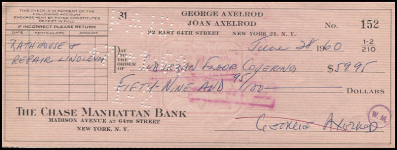 Image 1 for George Axelrod - Autographed Signed Check 06/28/1960 - HFSID 346110