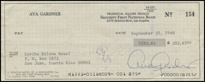 Image 1 for Ava Gardner - Autographed Signed Check 09/25/1968 - HFSID 346115