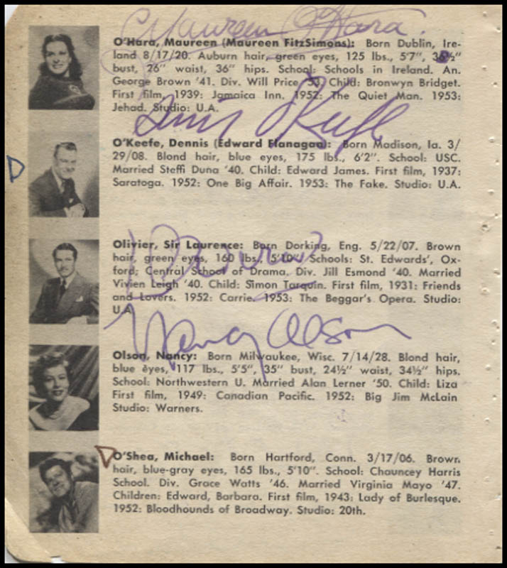 Image 1 for Maureen O'Hara - Book Page Signed with co-signers - HFSID 346125