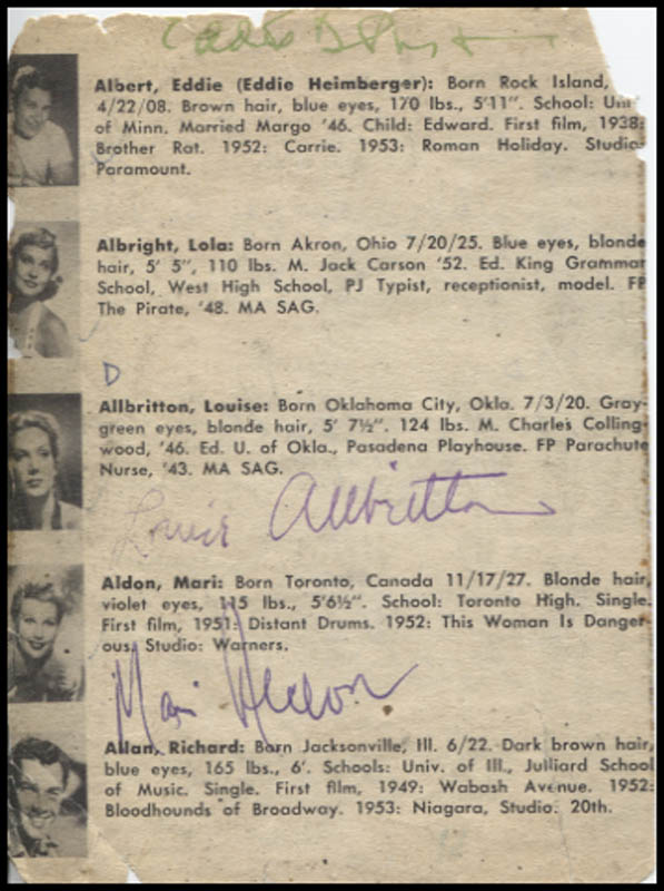 Image 3 for Eddie Albert - Inscribed Book Page Signed with co-signers - HFSID 346139