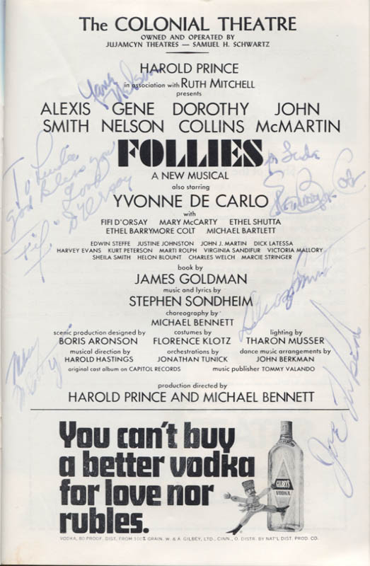 Image 4 for Follies Play Cast - Show Bill Signed with co-signers - HFSID 346147