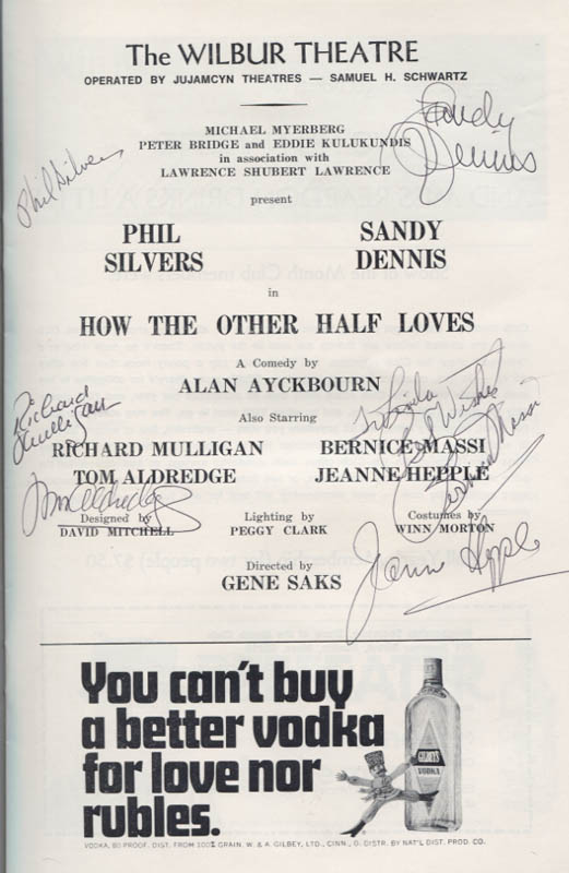 Image 1 for How The Other Half Loves Play Cast - Inscribed Show Bill Signed with co-signers - HFSID 346150