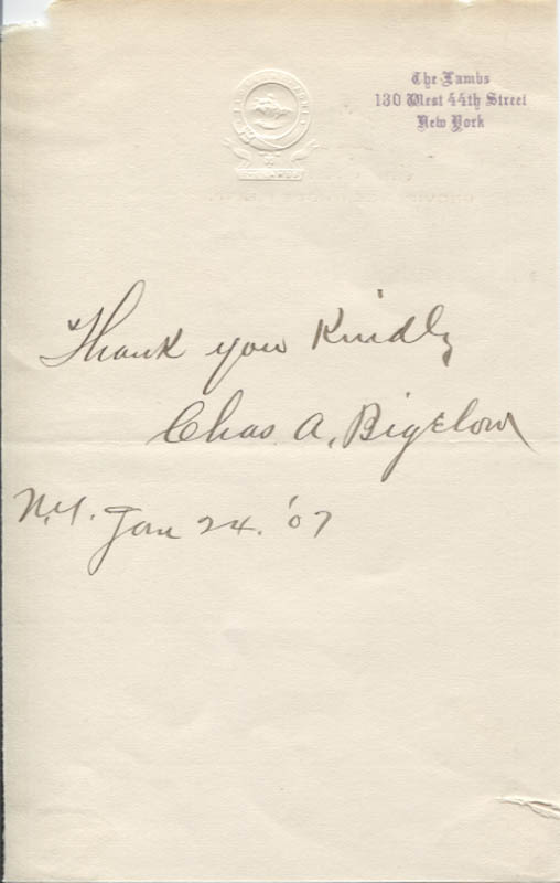 Image 1 for Charles A. Bigelow - Autograph Sentiment Signed 01/24/1907 - HFSID 346159