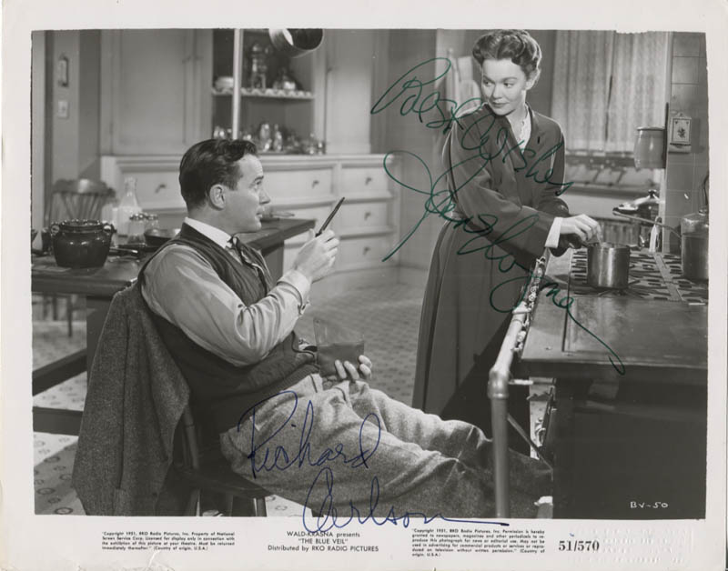 Image 1 for The Blue Veil Movie Cast - Printed Photograph Signed In Ink co-signed by: Jane Wyman, Richard Carlson - HFSID 347216