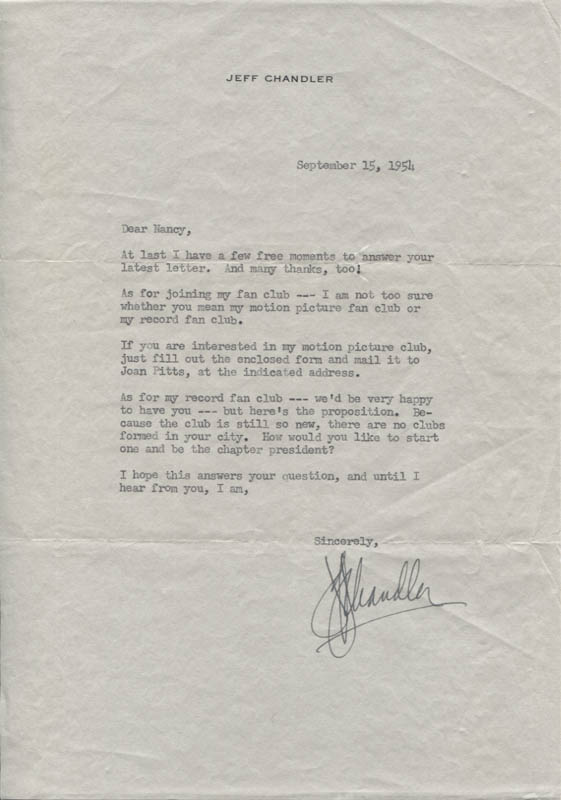 Image 1 for Jeff Chandler - Typed Letter Signed 09/15/1954 - HFSID 347401