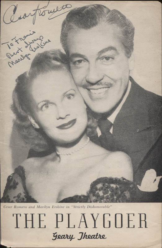 Image 1 for Strictly Dishonorable Play Cast - Inscribed Show Bill Cover Signed co-signed by: Cesar Romero, Marilyn Erskine - HFSID 347402