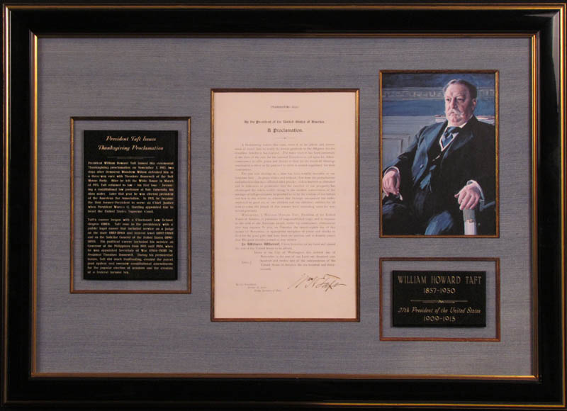 Image 1 for President William H. Taft - Presidential Proclamation Signed 11/07/1912 - HFSID 347960