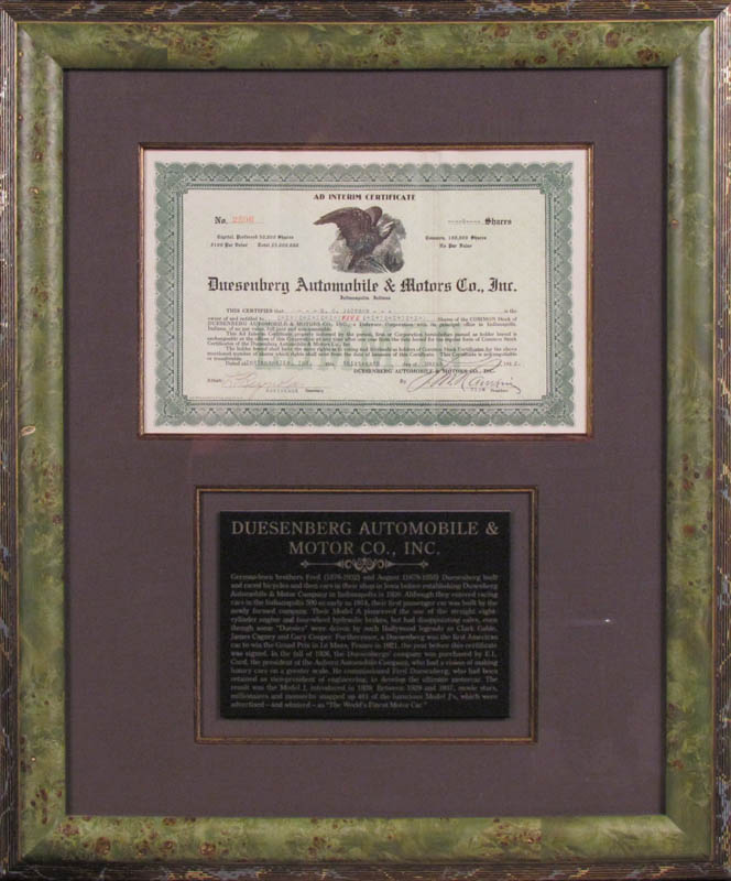 Image 1 for Duesenberg Automobile - Stock Certificate Signed 03/13/1922 - HFSID 347969