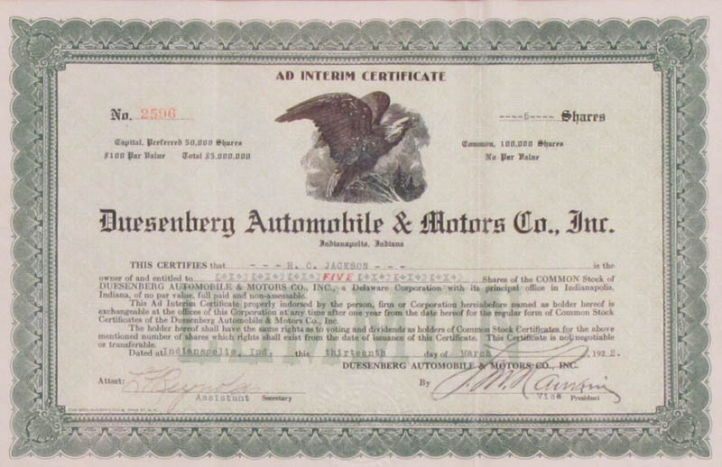 Image 3 for Duesenberg Automobile - Stock Certificate Signed 03/13/1922 - HFSID 347969