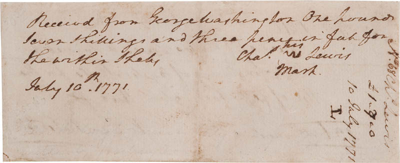 Image 3 for President George Washington - Receipt Signed 07/10/1771 - HFSID 347979