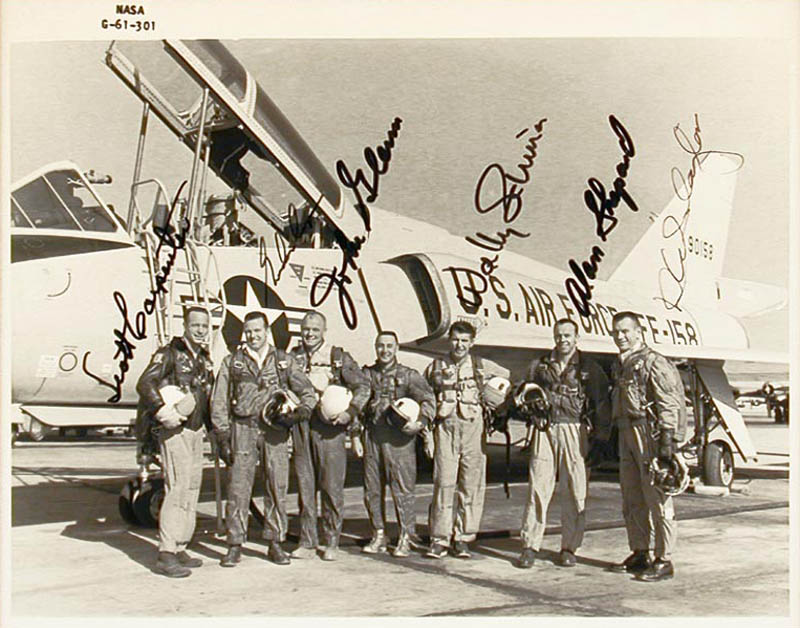 Image 3 for John Glenn - Collection with Colonel Gordon Cooper Jr., Captain Wally M. Schirra, Scott Carpenter, Lt. Colonel Virgil I. 'Gus' Grissom, Rear Admiral Alan B. Shepard Jr., Major Donald 'Deke' Slayton - HFSID 347981