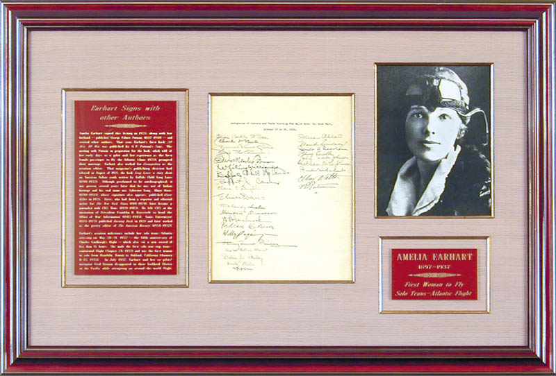 Image 1 for Amelia M. Earhart - Autograph 10/1928 with co-signers - HFSID 347983
