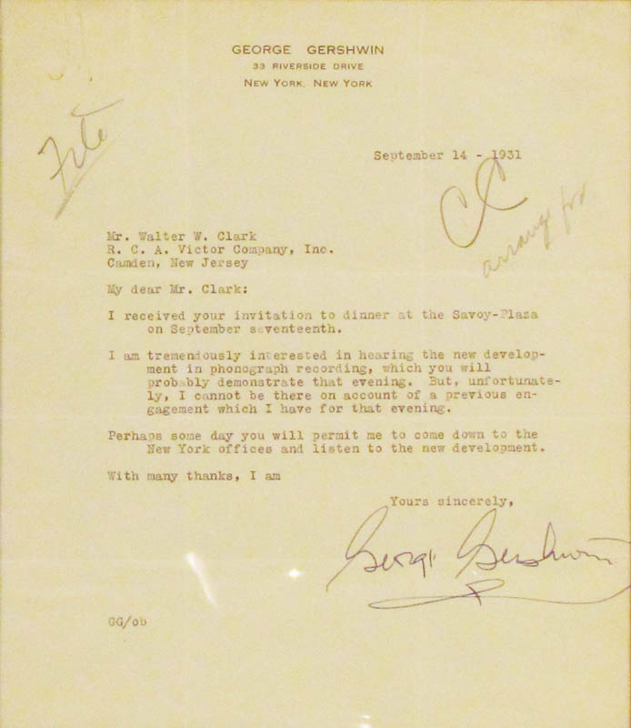 Image 3 for George Gershwin - Typed Letter Signed 09/14/1931 - HFSID 347996