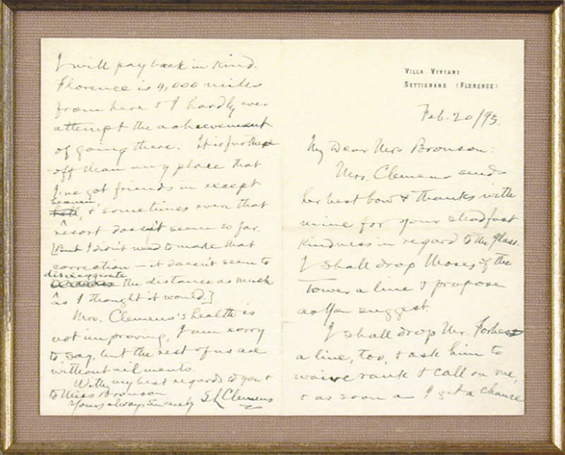 Image 3 for Samuel L. 'Mark Twain' Clemens - Autograph Letter Signed 02/20/1895 - HFSID 348018