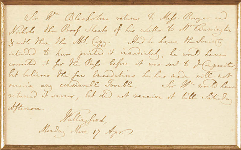 Image 3 for Sir William Blackstone - Third Person Autograph Letter 4/17 - HFSID 348040