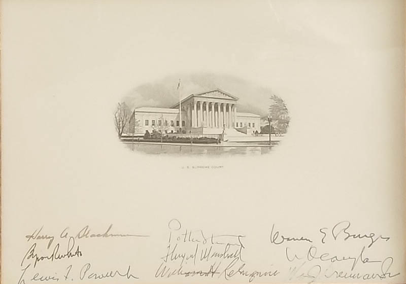 Image 3 for The Warren E. Burger Court - Supreme Court Engraving Signed with co-signers - HFSID 348087