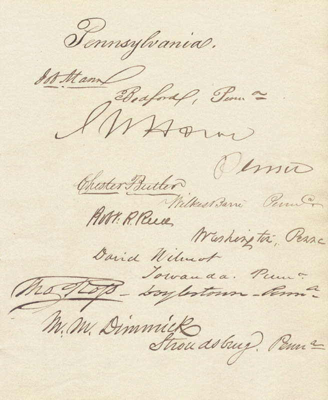 Image 1 for David Wilmot - Autograph Circa 1849 with co-signers - HFSID 34870