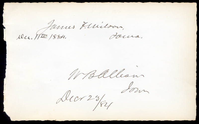 Image 1 for James Falconer Wilson - Autograph 12/11/1884 co-signed by: William B. Allison - HFSID 34907