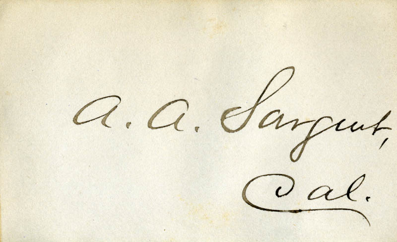 Image 1 for Aaron Augustus Sargent - Autograph - HFSID 34941