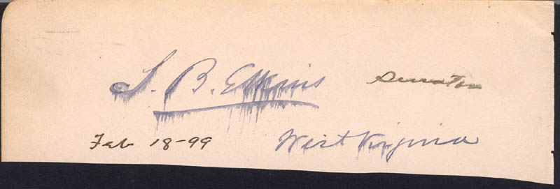 Image 1 for Stephen B. Elkins - Clipped Signature 02/18/1899 - HFSID 34959