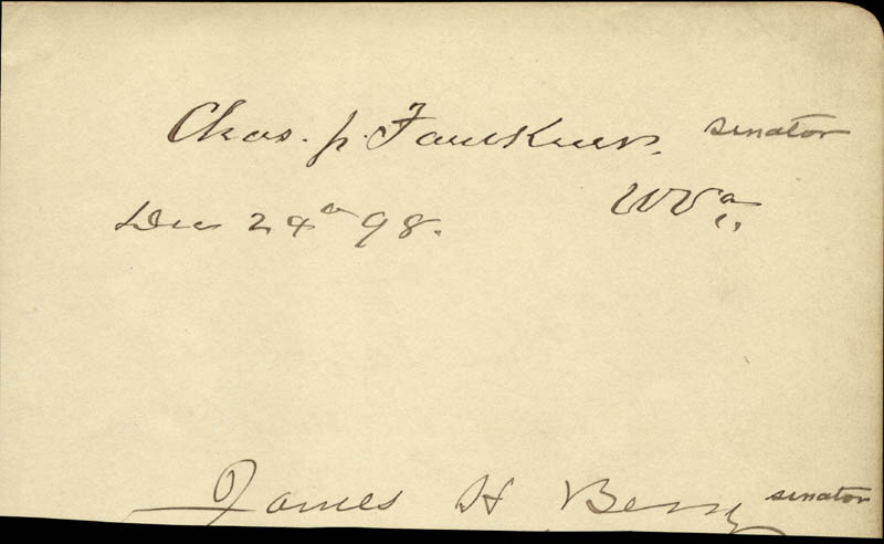 Image 3 for Major General Adolphus W. Greely - Autograph 12/23/1898 co-signed by: Charles J. 'Junior' Faulkner, James H. Berry, John Dalzell - HFSID 34960