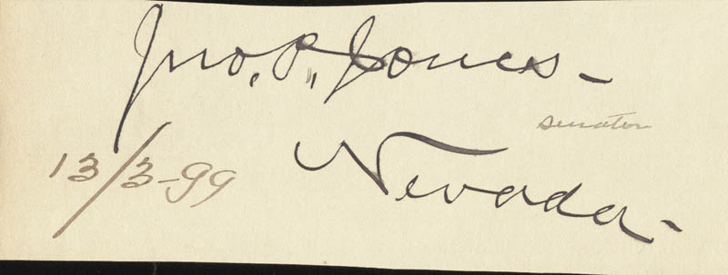 Image 1 for John P. Jones - Autograph Circa 1899 - HFSID 34963