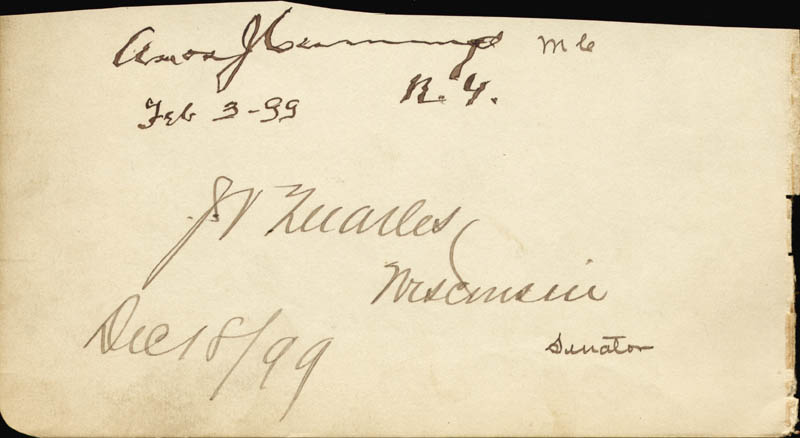 Image 1 for Amos J. Cummings - Autograph 02/03/1899 co-signed by: Joseph V. Quarles - HFSID 34997