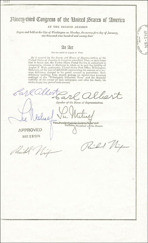 Image 1 for President Richard M. Nixon - Document Signed 03/29/1974 co-signed by: Lee Metcalf, Carl B. Albert - HFSID 35055