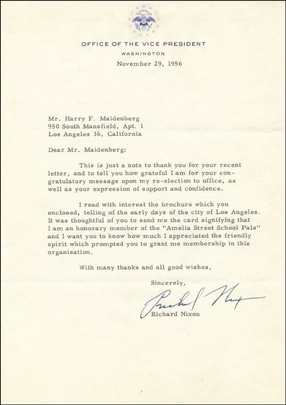 Image 1 for President Richard M. Nixon - Typed Letter Signed 11/29/1956 - HFSID 35057