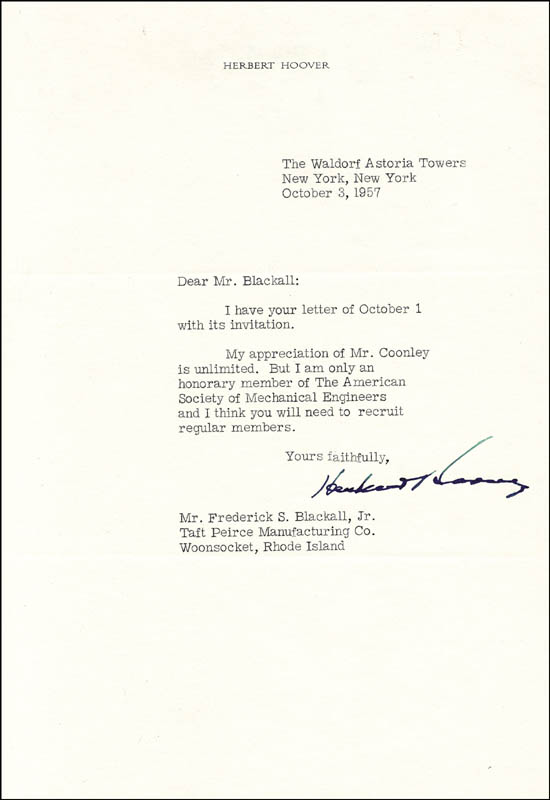 Image 1 for President Herbert Hoover - Typed Letter Signed 10/03/1957 - HFSID 351