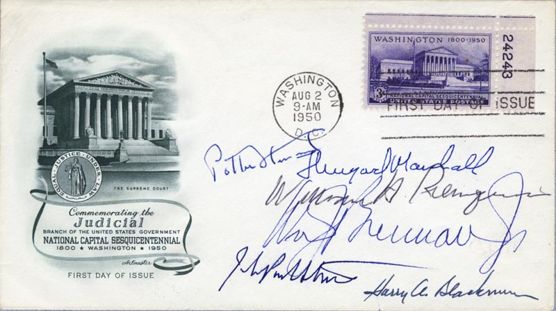 Image 1 for The Warren E. Burger Court - First Day Cover Signed with co-signers - HFSID 35426