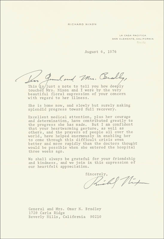 Image 1 for President Richard M. Nixon - Typed Letter Signed 08/06/1976 - HFSID 35449