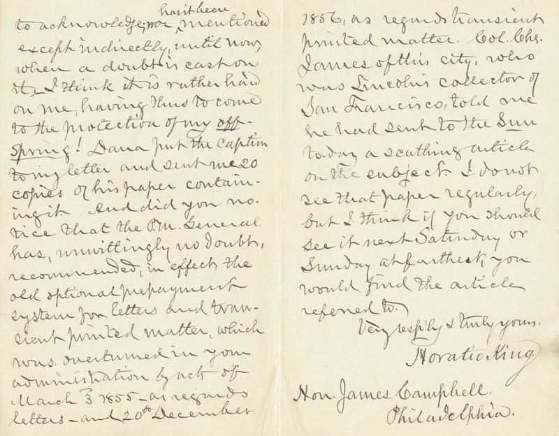 Horatio king autograph letter signed 12 19 1889