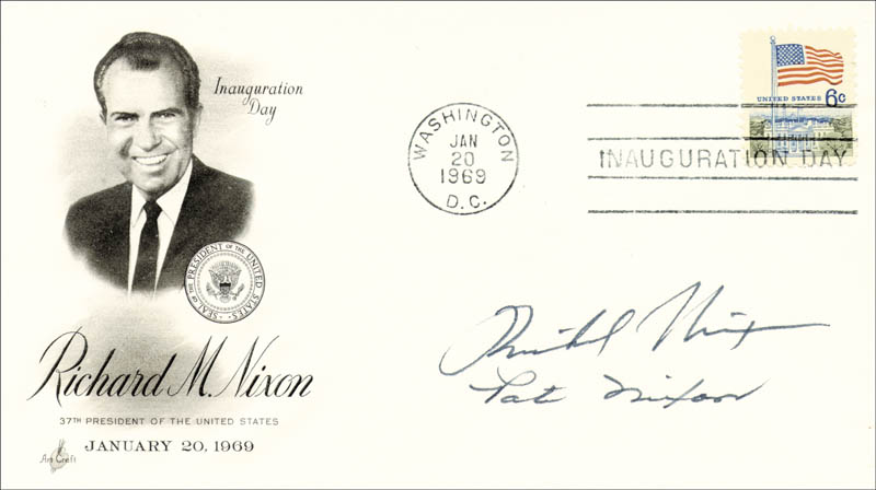 Image 1 for President Richard M. Nixon - Inauguration Day Cover Signed co-signed by: First Lady Patricia R. Nixon - HFSID 35505